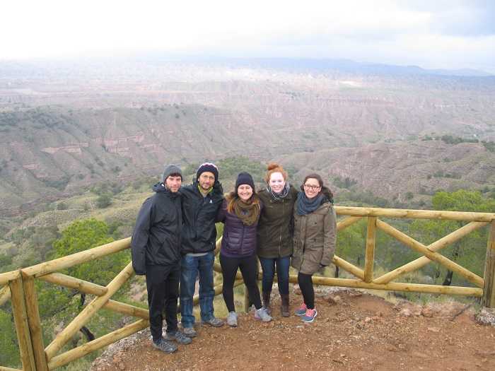Visit of USA students at Monte Pajarillo trekking route (Bacor-Olivar, Spain)